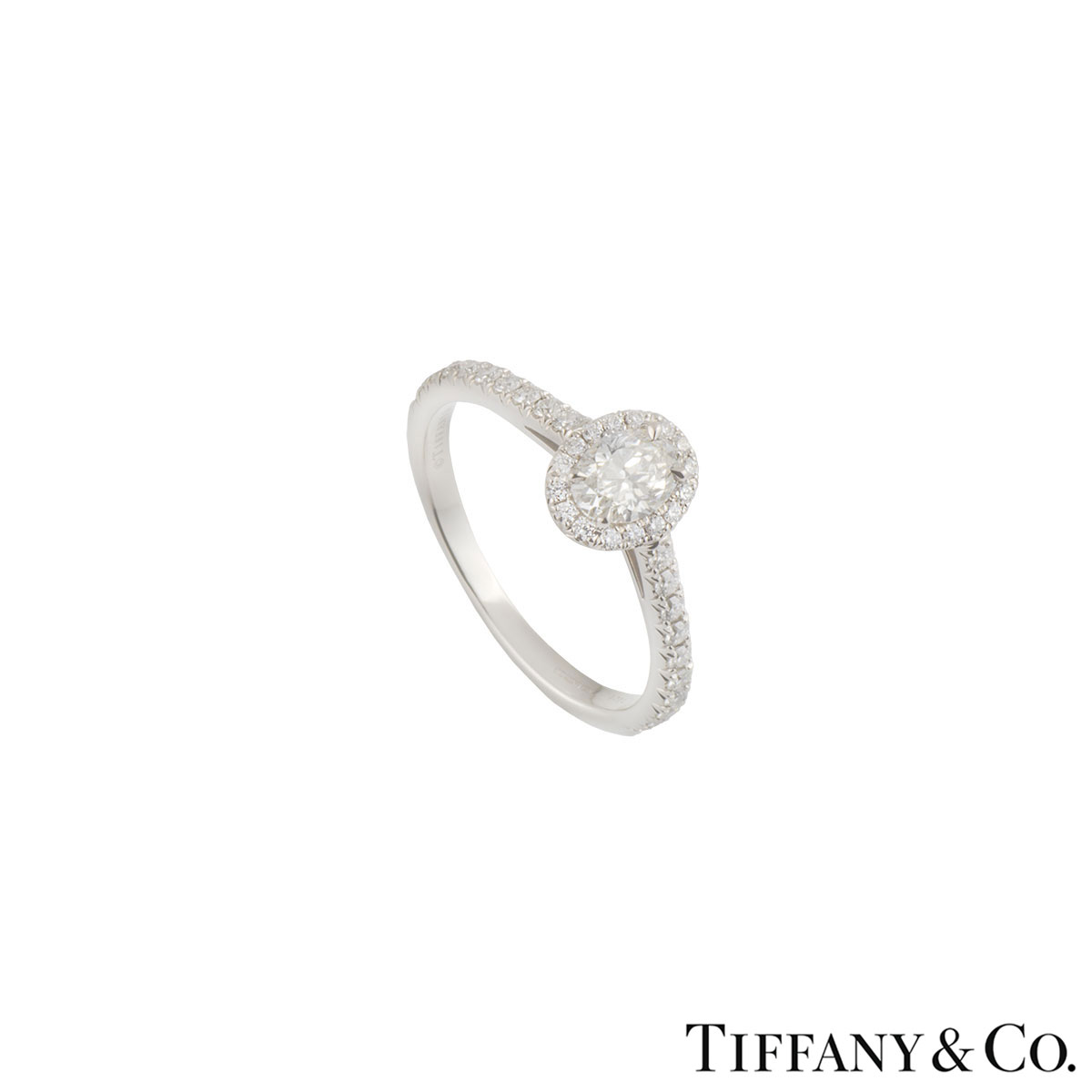 Tiffany & Co. Platinum Diamond Soleste Oval Ring